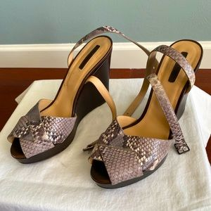 Longchamp strappy platform snakeprint sandal heels